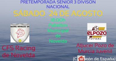 El Racing de Novelda Senior se enfrentará al Campeón de España, el Aljucer El Pozo Murcia Juvenil, en su primer partido de pretemporada