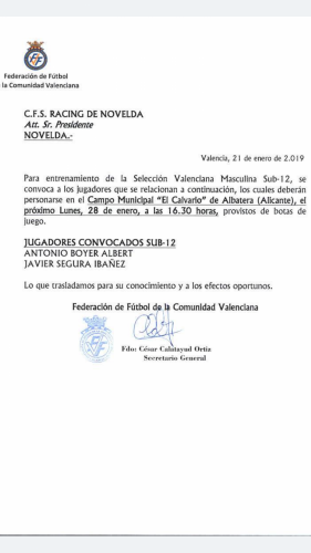 Convocatoria Antonio Boyer y Javier Segura