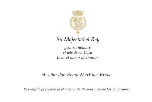 novelda deportes kevin martinez bravo invitacion casa real española su majestad el rey españa